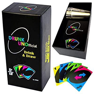 Drunk Unofficial Game Set with Shot Glasses - Fun Drinking Games for Adults Party - 21st Birthday Gifts - Outdoor Games with Waterproof Playing Cards & Big Stainless Steel Shot Glasses
