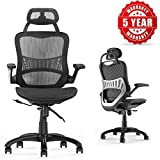 Ergonomic Office Chair, Komene Breathable High-Back Desk Chair, 110°Reclining Lumbar Support Aeron Chair, Executive Task Armchair with Adjustable Seat and Headrest Black, Max Load 250lbs SGS & BIFMA