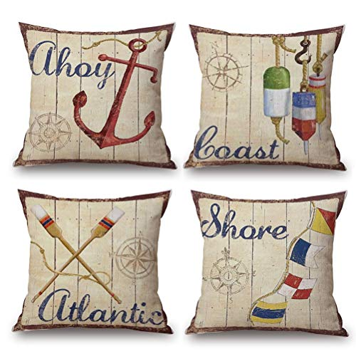 Coastal Throw Pillow Covers 4pack Sea Theme Nautical Cotton Linen Beach Cushion Cover 18 X 18 Inch