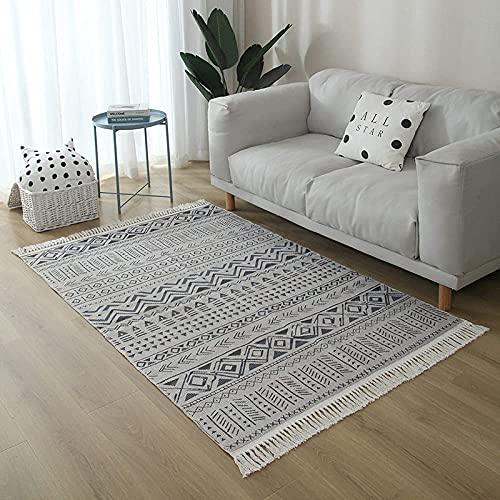 Alfombras de área de gran tamaño para sala de estar, Boho Alfombras de área antideslizantes de gran tamaño Patrón de geometría simple Alfombra de borlas suaves Alfombra de picnic Arte Decoración del h