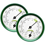 2-Pack Mini Thermometer Indoor and Humidity Gauge – Small Thermometer Hygrometer Analog Temperature Monitor for Home Wall Room Greenhouse Incubator Tank Decorative, NO Battery Needed