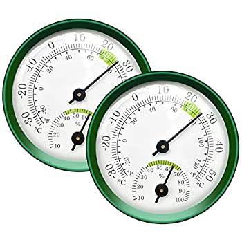 Tentop 2-Pack Mini Thermometer Indoor and Humidity Gauge – Small Thermometer Hygrometer Analog Temperature Monitor for Home Wall Room Greenhouse Incubator Tank Decorative NO Battery Needed