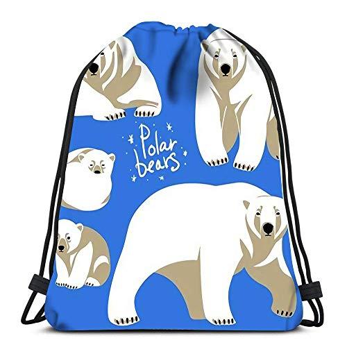 Mochila con cordón de la colección de osos polares Clip Art Azul...