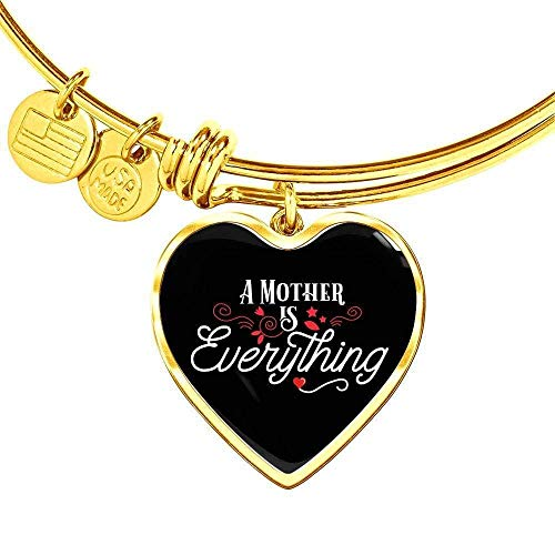Express Your Love Gifts A Mother is Everything Stainless Steel Oro 18k Heart Pulsera Bangle