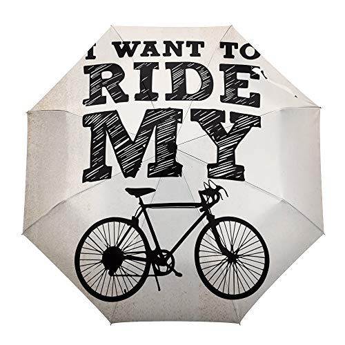 Umberlla Plegable de Viaje, Silueta de Bicicleta de Fondo Vintage, para Exteriores,...