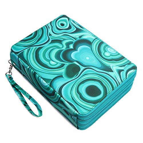 YOUNGCOL 200 Slots Colored Pencil Case Large Capacity Pencil Organizer Holder with Compartments (Green marble)