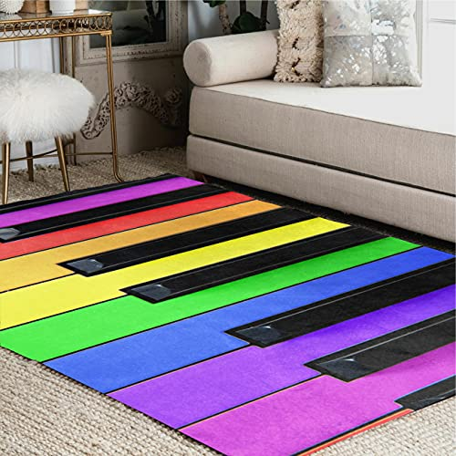 ALAZA Colorful Piano Music Rainbow Area Rug Rugs for Living Room Bedroom 7' x 5'