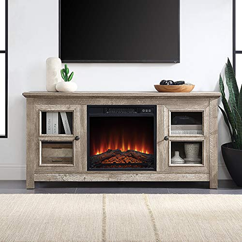 BELLEZE 50 Inch Wood TV Console with Electric Fireplace for TV's up to 55