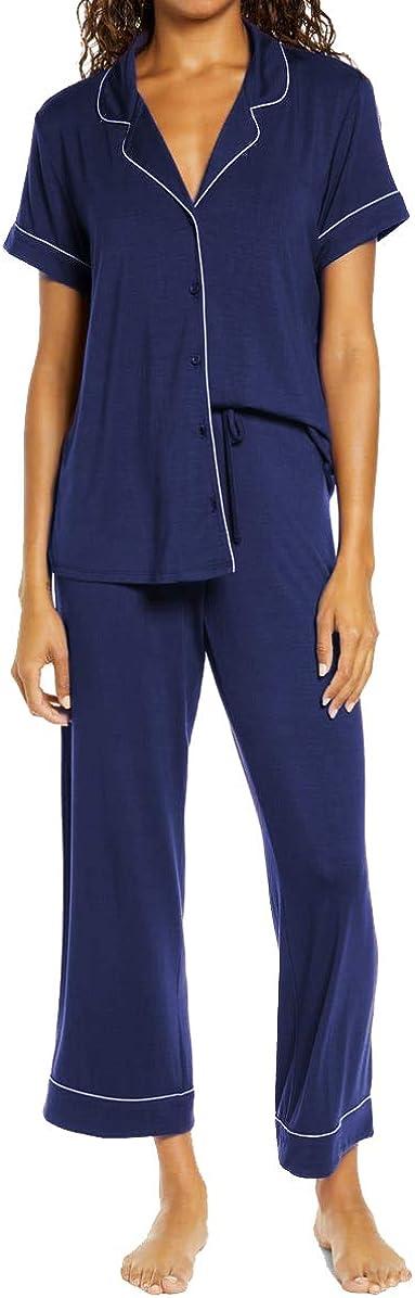 GIBLY Pajamas Set Short Sleeve Sleepwear Womens Button Down Nightwear Soft Pj Lounge Sets S-XXL