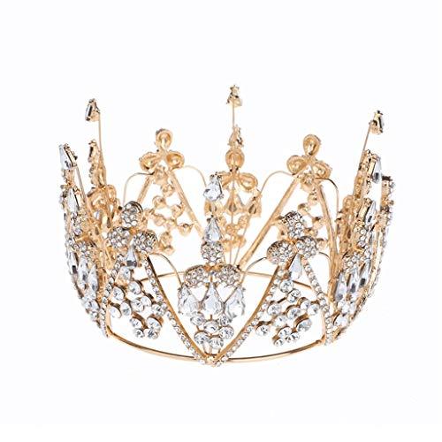 SSMDYLYM Fashion Pageant Bride Tiara Rhinestone Crown Accesorios para el Cabello de la Boda Joyas de Pelo de la Boda Vestido Detalle Reina Didem Prom
