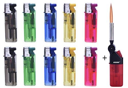 Feuerzeuge 10 x Sturm Elektronisch Nachfüllbar+1x (Konsumany® Stab- Stumfeuerzeug 12,5 cm Lang)