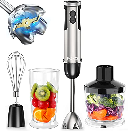 KOIOS' 12-Speed Immersion Hand Blender with Stainless Steel Stick Blender, Beaker, Food Processor, Whisk Attachments
