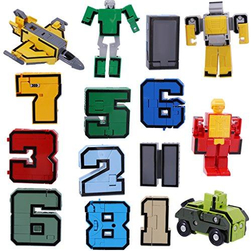 Números De Equipo De Armaduras Transformar Robot De Juguete De Conjunto De Visualización Juego Infantil De 15 PC