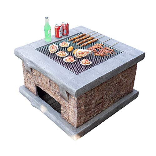 Wood Fire Pits Outdoor Imitation Stone Outdoor Firewood Brazier, Backyard Patio Garden Fireplace, BBQ Grill Square Table, With Spark Screen Cover And Poker (Color : Kit-1)