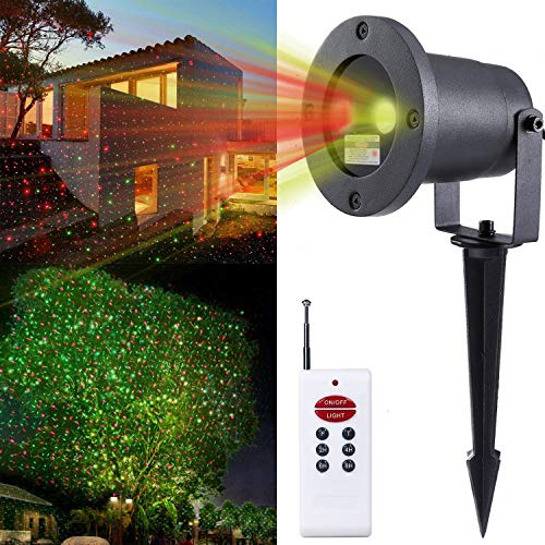 Moving Green and Red - 2 Color Laser Landscape Projector Light w/ Remote Landscaping Decoration Holiday Lighting Christmas Lights Outdoor Laser Amazer