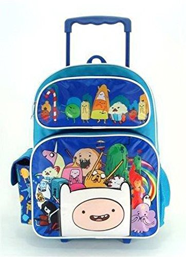Cartoon Network Full Size Blue Adventure Time Cast with 3D Finn Rolling Backpack