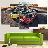 TTTRR Impreso Mural Coche de lujo Porsche Lamborghi 5 Piezas Lienzos Cuadros Impresiones En Lienzo HD Póster Enmarcado Arte Moderno Sala De Estar Decoración del Hogar 150*80 CM