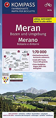 KOMPASS Fahrradkarte Meran, Bozen und Umgebung, Merano, Bolzano e dintorni 1:70.000, FK 3414: reiß- und wetterfest mit Extra Stadtplänen (KOMPASS-Fahrradkarten International, Band 3414)