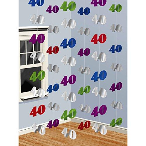 NET TOYS 40ter Geburtstag Girlande Zahlen 10 x 7 cm, Länge 200 cm Raumdeko Jubiläum Geburtstagsketten 40 Geburtstagsdeko Geburtstagsdekoration