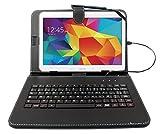 Funda para Samsung Galaxy Tab 4(SM-T530/T533negro + teclado integrado AZERTY), Tab A 9,7pulgadas (T550) y Tab A 10.1(2016) T580Tablets 10.1'–Lápiz táctil Bonus + DURAGADGET–Garantía de 2años