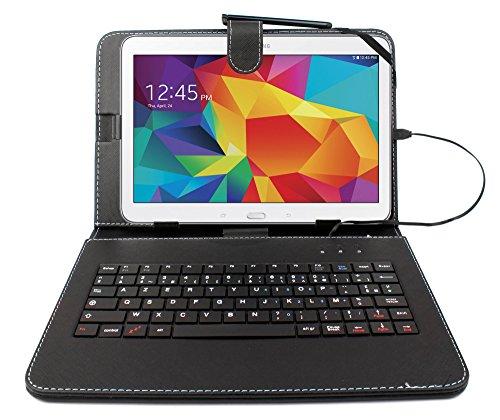 "DURAGADGET Etui Noir + Clavier intégré AZERTY pour Samsung Galaxy Tab 4 (SM-T530/T533), Tab A 9,7"" (T550) et Tab A 10.1 / Tab A6 (2016) T580 tablettes 10.1"" - Stylet Bonus + Garantie de 2 Ans"