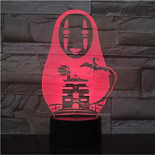 USB 3D Led Night Light No Face Man Figure Decoration Boys Child Kids Baby Gifts Japanese Anime Spirited Away Table Lamp Bedside Remote Phone Bluetooth Control Color