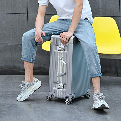 TSA-Schloß Koffer Reisekoffer Trolley Kofferset,Aluminum alloy rod ABS universal wheel right angle aluminum frame luggage@Elegant silver high-end diamond...