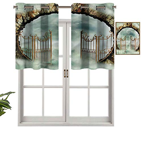 Hiiiman Cenefas opacas con aislamiento térmico y ojales cortos, estilo vintage, diseño de castillo de ensueño, juego de 1, 127 x 45 cm para dormitorio