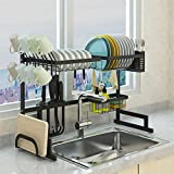 SKOLOO Over Sink Dish Drying Rack , Adjustable Stainless Steel Above Sink Dish Rack, Over Counter Dish Drying Rack, Kitchen Drainage Rack Organizer