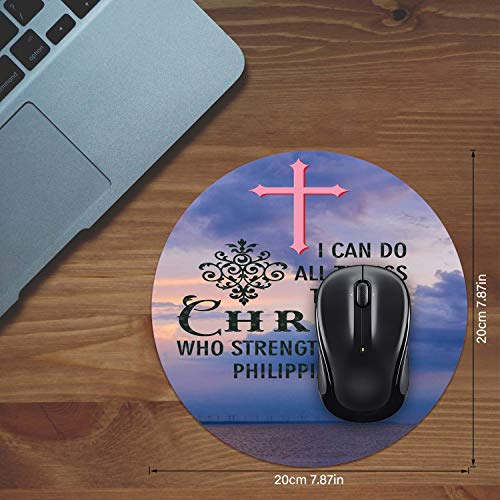 Mouse Pad and Coaster Set, Christian Bible Verses Philippians 4:13 Mouse Pad Round Non-Slip Rubber Mousepad Office Accessories Desk Decor Mouse Mat for Desktops Computer Laptops Photo #3