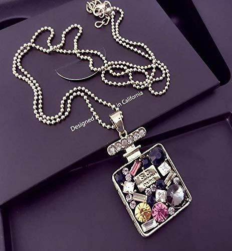 AK.SSI Damen Pullover Kette Lange quadratische Parfüm Flasche Halskette Anhänger Halskette Lange Kette Halskette