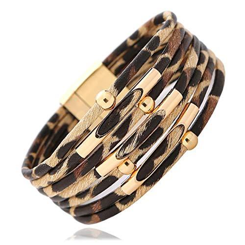 Konpicca Leather Wrap Bracelet Leopard Bracelet Handmade Multi-Layer Bohemian Bracelet Charm Bangle Bracelet for Women