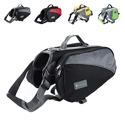 Wellver Dog Backpack Saddle Bag Outdoor Travel Packs for Hiking Walking Camping,Small