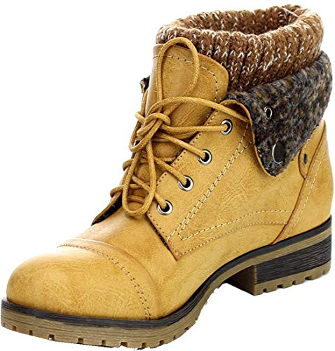 REFRESH WYNNE-01 Womens Combat Style Lace Up Ankle Bootie Tan 11