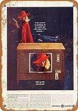 Señales de Metal de 12 x 18 Pulgadas de 1963 General Electric Color Television clásico Look