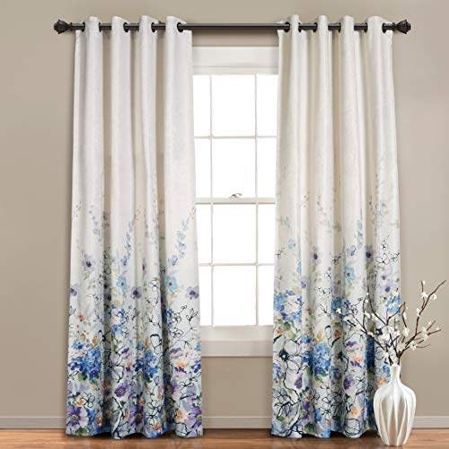 """MYSKY HOME Blackout Curtain for Living Room 95 Inch Long,Grommet Thermal Insulated Room Darkening Curtain Linen Weaving Textured Bedroom Curtain Panel with Flower Print Design,52""""x95"""",Blue,1 Panel"""