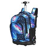 FGASAD Trolley Wheel Pack Back, Roller Backpack Children's School Bag Luggage Wheels Laptop Backpack School Quarter Backpack Adjustable Trolley for Boys or Girls