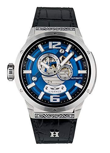 HÆMMER Herren Armbanduhr Analog Automatik mit 24mm Armband aus Kalbsleder, Silber/Schwarz, GG-100