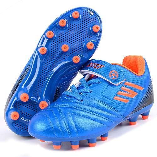 Niña Zapatillas de Fútbol Botas de Fútbo Spike FG Bota de Rugby Zapatos de fútbol Libre Atletismo Zapatos de Entrenamiento Zapatillas de Correr Antideslizante Zapatos de Interio Unisex Azul 35