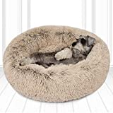 Friends Forever Luxury Pet Calming Bed for Dogs   Faux Fur Anti Anxiety Dog Beds Cute Fluffy Round Pillow Cuddler   Donut beds for Cats & Medium Size Dogs - Biscotti Tan Medium 30'x30'