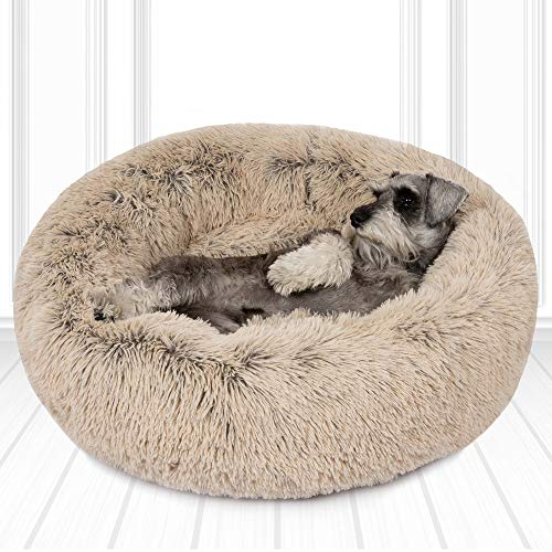 Friends Forever Luxury Pet Calming Bed for Dogs | Faux Fur Anti Anxiety Dog Beds Cute Fluffy Round Pillow Cuddler | Donut beds for Cats & Medium Size Dogs - Biscotti Tan Medium 30x30