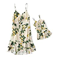 IFFEI Mommy and Me Matching Dress Hollow Out Strap Summer Casual Sundress Beach Sleeveless Dress