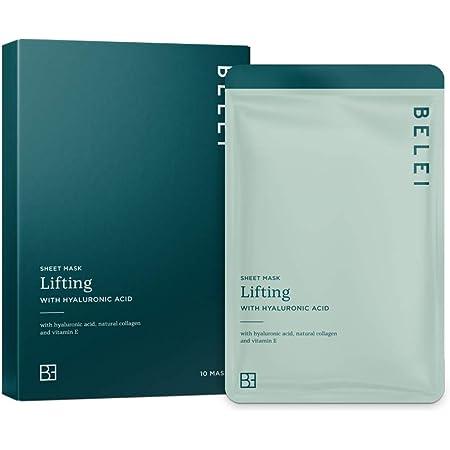Marca Amazon - Belei Mascarilla de hidrogel antigoteo en lámina, efecto lifting, con ácido hialurónico, paquete de 10