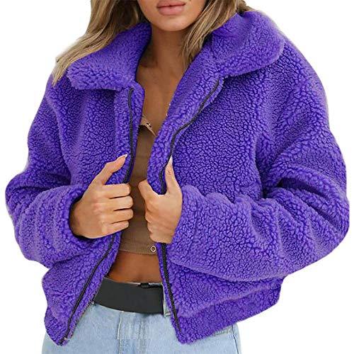 Damen Loose Asymmetrisch Sweatshirt Long Top Oversize Pullover Baggy Oberteile T-Shirt Bluse (Violett,S)