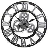 Soledi Reloj de Pared Engranaje Hueca Estilo Met¨¢lico Mec¨¢nico 40cm