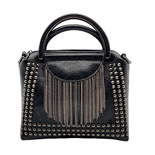 Julesmar Nieten- Tasche New York // Damen Handtasche aus Kunstleder mit Nieten und Fransen