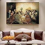 wZUN Arte Mural sobre Lienzo del Antiguo Testamento de Jesús Impresión sobre Lienzo Mural de la Última Cena de Jesús Decoración del hogar 50x75cm