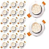 Faziango 20x Foco Empotrable 7W LED Luz de Techo Downlight 3000K 560LM Blanco cálido para Ojos de Buey Cocina Baño Dormitorio