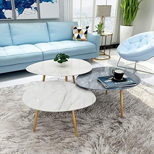 ZRXian-Kaffeetische Mid Century Modern Marmor Satz Couchtische, für Wohnzimmer Schlafzimmer Home Office, 2er Set, Oval Elegantes Design, Marmor, Gold, 76x63x40 / 45 / 50cm