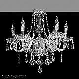 Diseño simple colgante artefactos de iluminación María Teresa luz de techo, lámparas de araña de cristal K9 Claro de cristal con 6 brazos Luces, LED de gotitas elegantes lámparas de araña accesorio fo